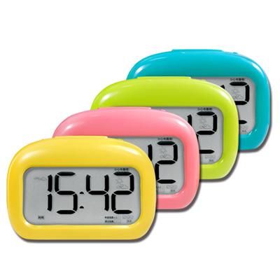 多功能靜音智能感光貪睡計時表情動畫電子鬧鐘-黃粉綠藍