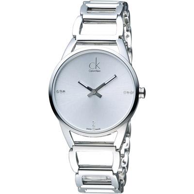 CK Calvin Klein 璀璨系列手環錶-白/33mm