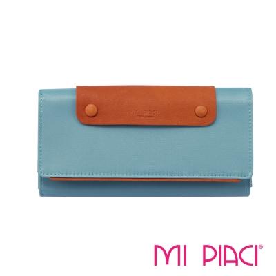 MI PIACI-Jet Set系列-布配皮長錢夾-1085818孔雀藍