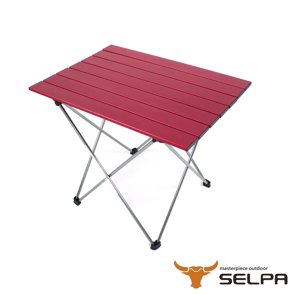 韓國SELPA超輕量鋁合金折疊桌蛋捲桌紅色加大型