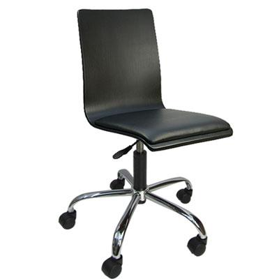 LOGIS 和風曲木皮墊事務椅/電腦椅(黑)