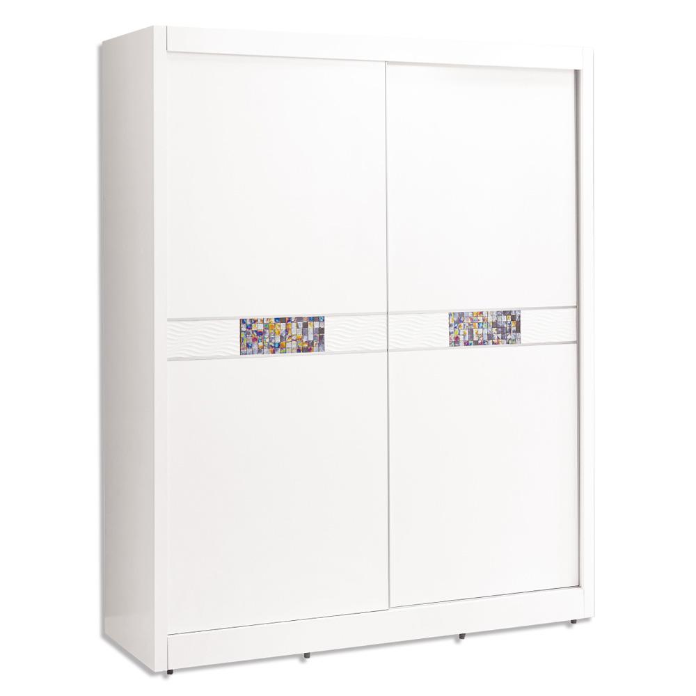 Boden-羅克莎5尺白色推門/拉門衣櫃-150x60x199cm