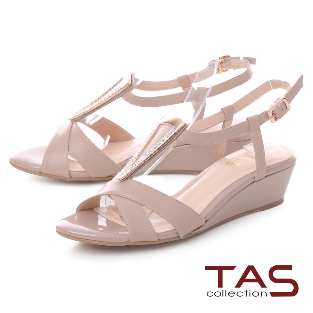 TAS 典雅三角金屬質感T字楔型涼鞋-氣質膚