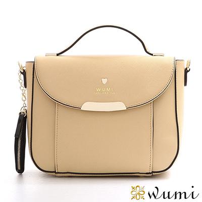 WuMi 無米 瑪莉珍十字紋兩用馬鞍包  奶茶杏