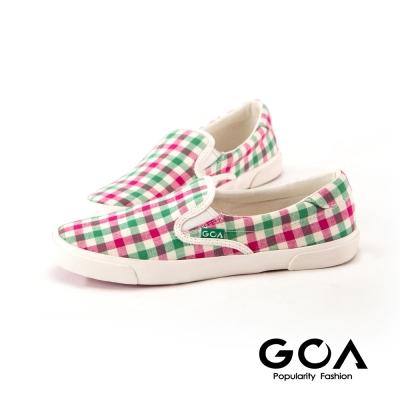 GOA可愛彩色格子休閒鞋-綠莓紅格