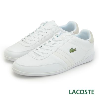 LACOSTE 男用真皮休閒鞋-白色