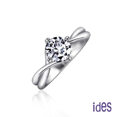 ides愛蒂思 GIA認證1克拉設計款F/VS1八心八箭完美3EX車工鑽石戒指/交錯