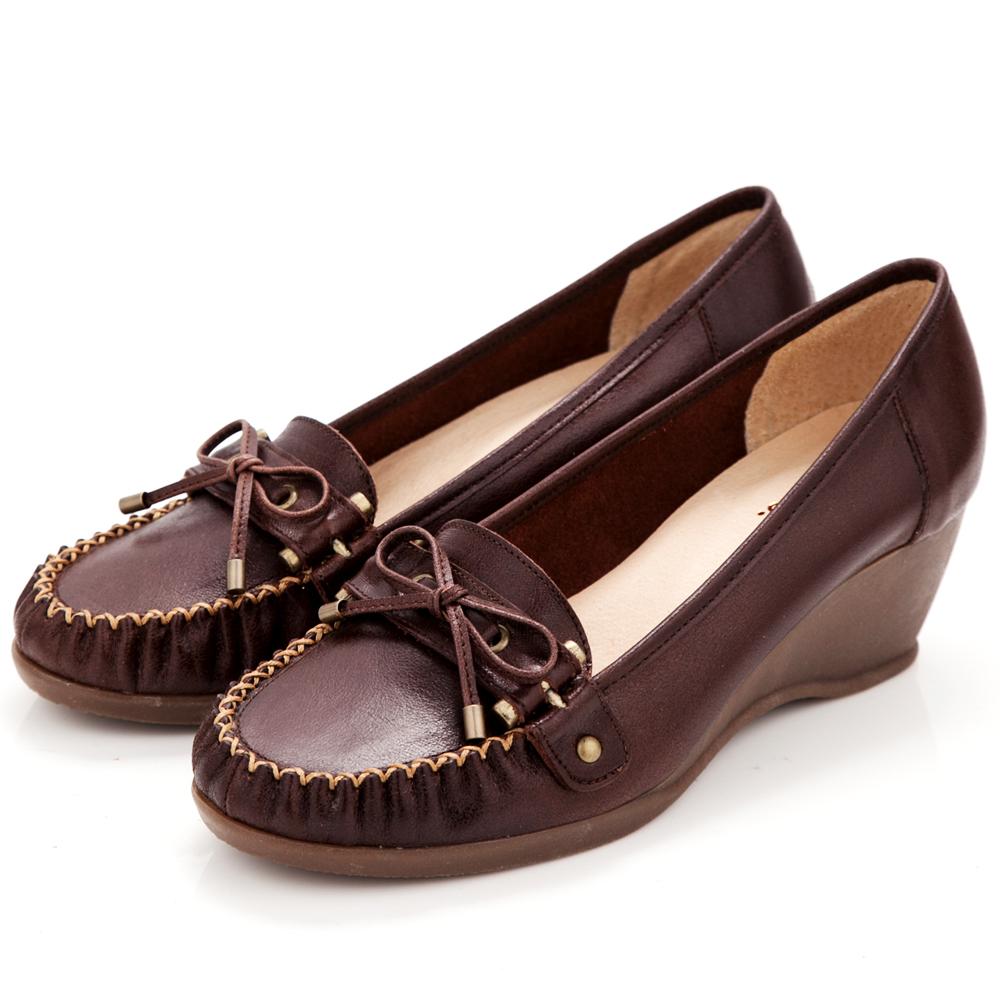 【G.Ms.】MIT系列‧知性學院‧手工縫線蝴蝶結全真皮楔型鞋‧深咖啡