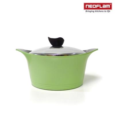 韓國NEOFLAM Aeni系列 18cm陶瓷不沾湯鍋+玻璃鍋蓋