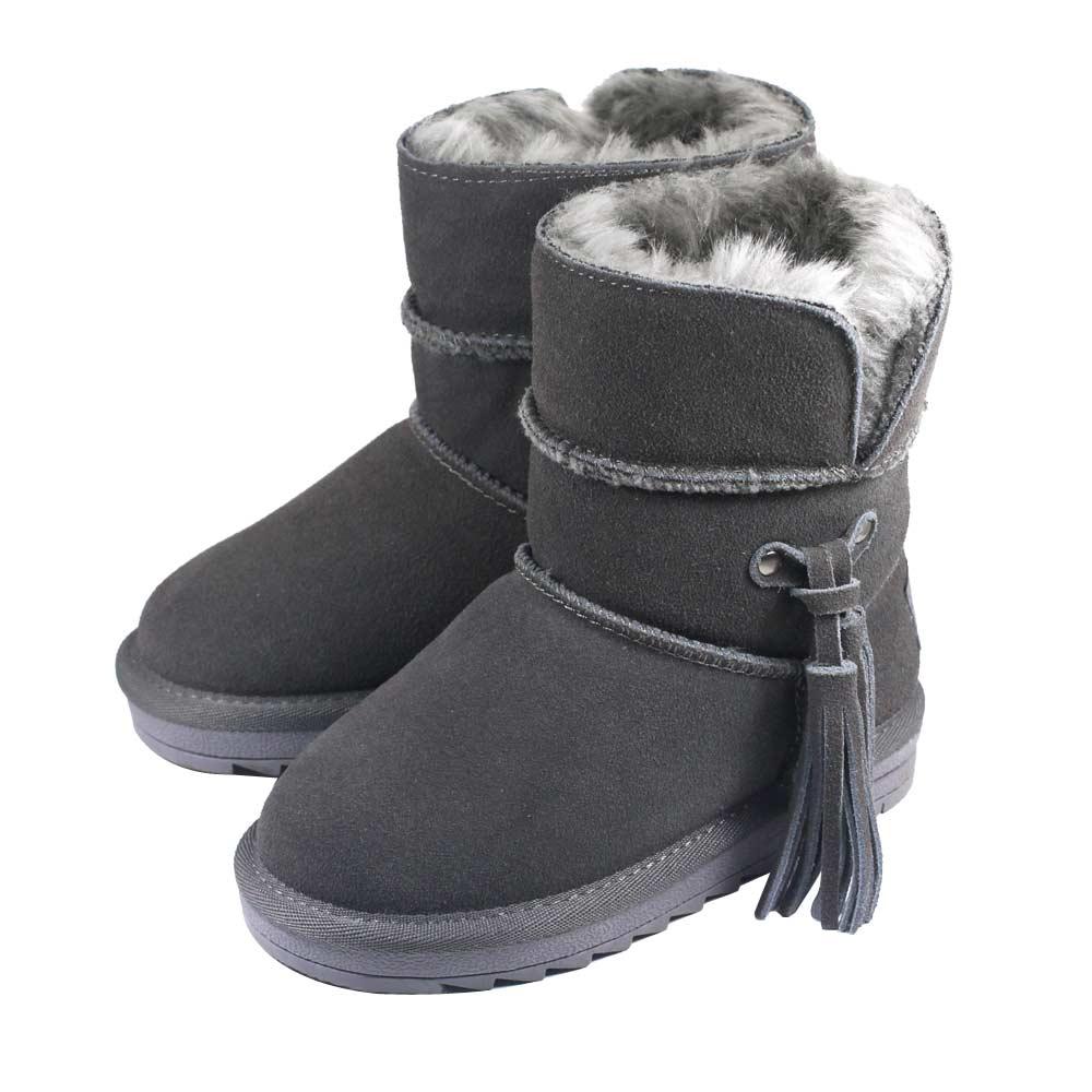 Swan天鵝童鞋-流蘇雪靴-3839灰