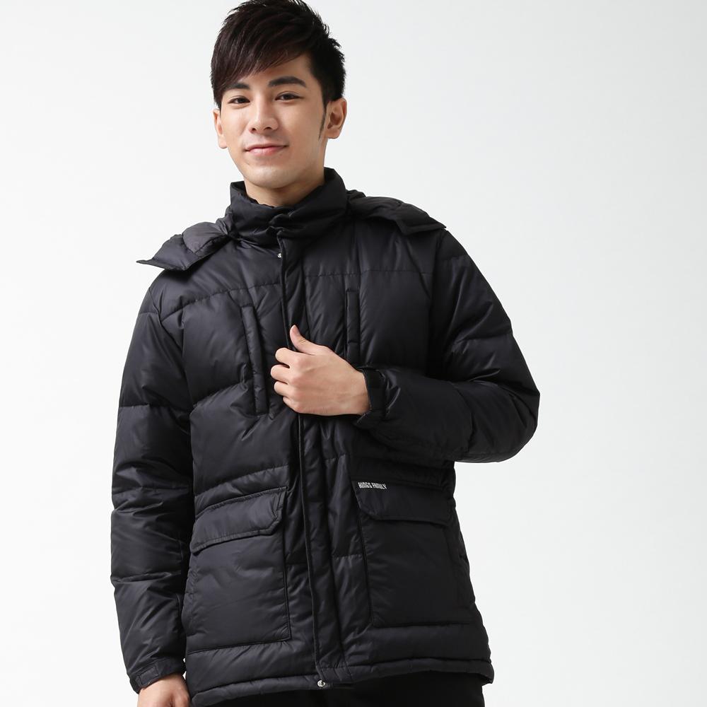 遊遍天下禦寒極暖JIS90羽絨中長版羽絨外套K001黑