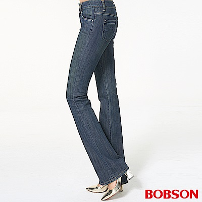 BOBSON 女款銀蔥刺繡伸縮中喇叭褲