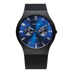 BERING-雙眼顯示鈦合金米蘭錶帶 藍寶石鏡面 黑x北歐藍39mm