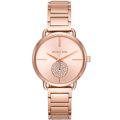 MICHAEL KORS 璀璨晶鑽小秒盤時尚手錶-玫瑰金/36mm