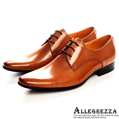 ALLEGREZZA.經典不敗義式素面綁帶皮鞋-焦糖色