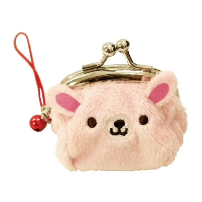 UNIQUE 動物樂園迷你珠扣零錢包 粉紅兔