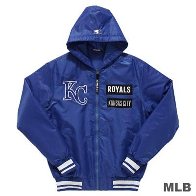 MLB-堪薩斯皇家隊鋪棉風衣連帽合身棒球外套-藍 (男)