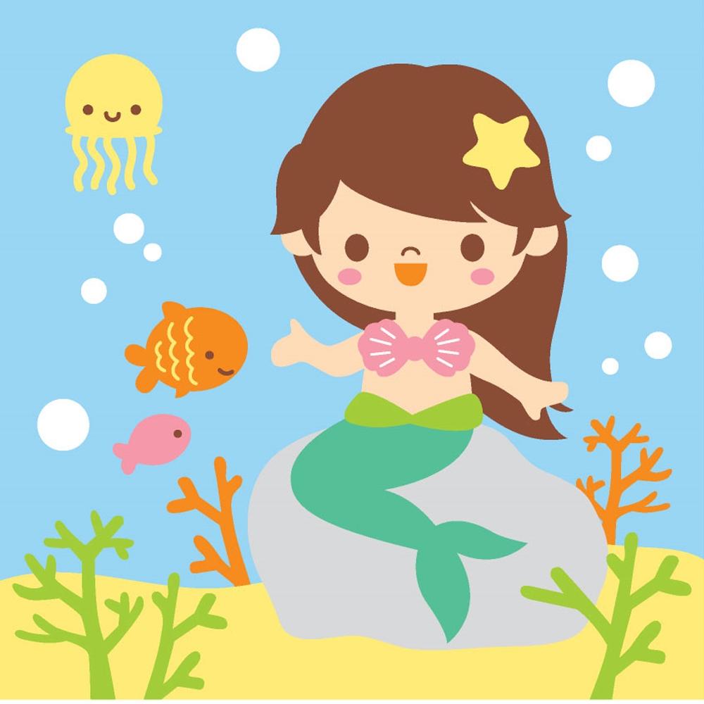 LOVIN 超萌韓版數字油畫 可愛美人魚(4) 1幅