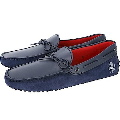 TOD'S For Ferrari 麂皮拼接綁帶豆豆鞋(男鞋/深藍色)