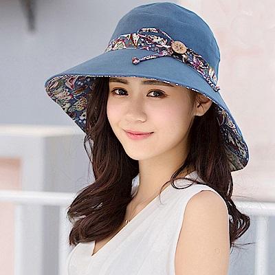 幸福揚邑 愛心紋大帽檐抗UV防紫外線雙面配戴可摺疊遮陽帽-藍