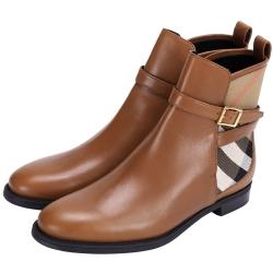BURBERRY HOUSE 經典格紋拼接踝靴(棕色)