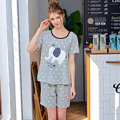睡衣 大象點點 精梳棉柔短袖兩件式睡衣(R77019-6麻灰色) 蕾妮塔塔