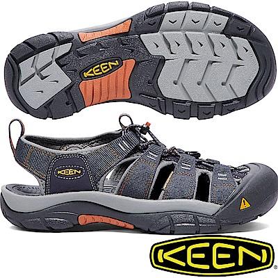 KEEN 1001931藍/橘 NewPort H2 男戶外護趾涼鞋