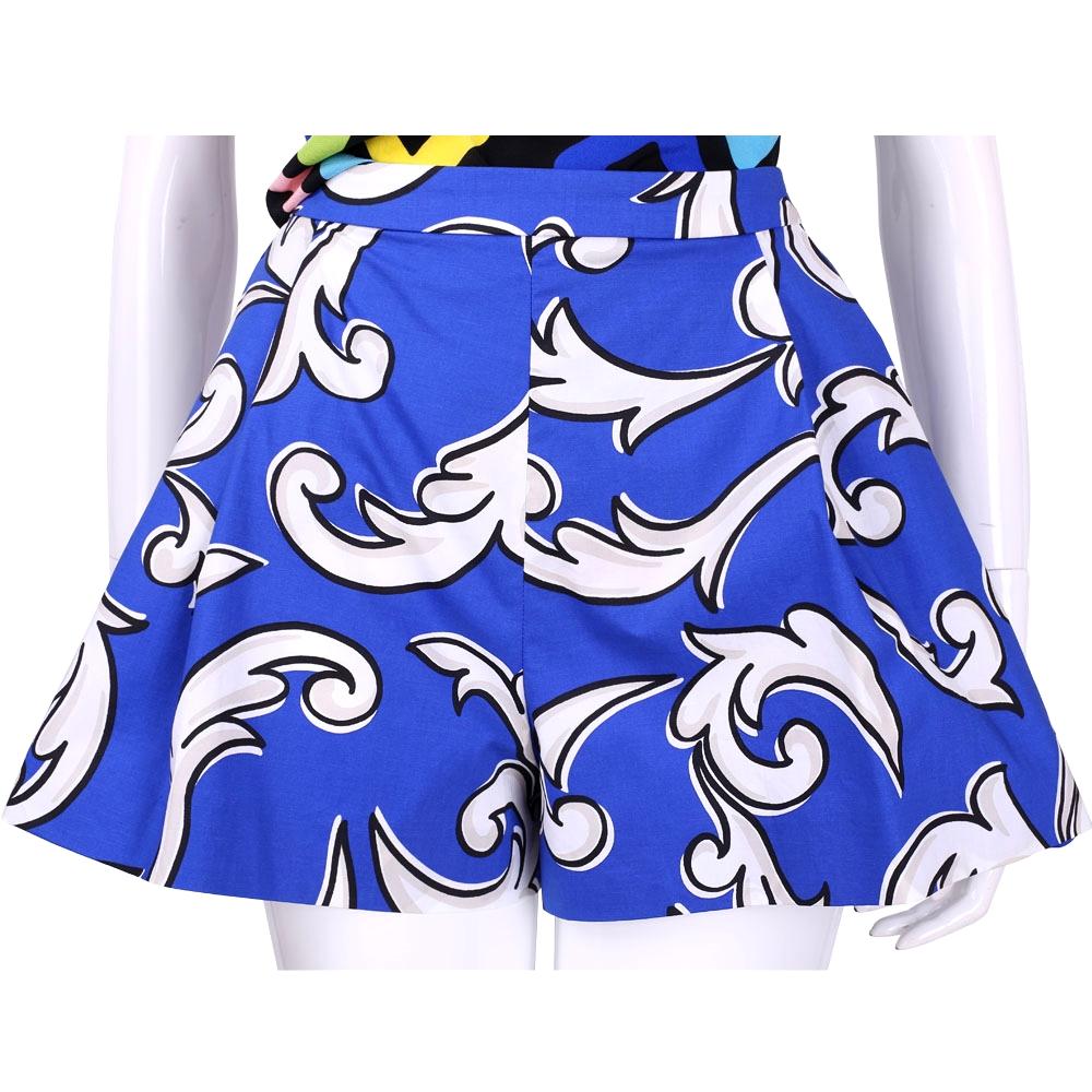 BOUTIQUE MOSCHINO 藍色印花圖騰抓褶短褲