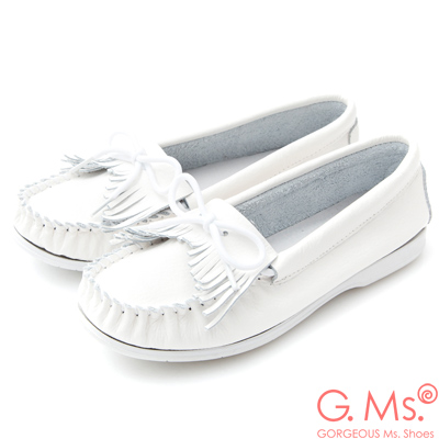 G.Ms. 牛皮莫卡辛流蘇綁帶休閒鞋H款-白色