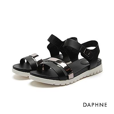 達芙妮DAPHNE 涼鞋-鋸齒鞋底魔鬼氈雙一字平底涼鞋-黑