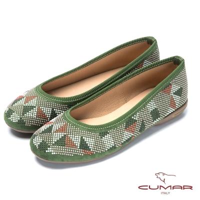 CUMAR台灣製造 珠珠裝飾舒適平底鞋-綠色