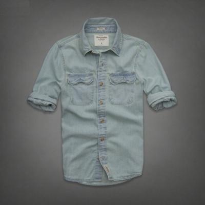 AF a&f Abercrombie & Fitch 長袖 襯衫 藍色 0126
