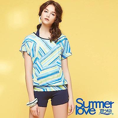 夏之戀SUMMERLOVE 大女長版條紋印花三件式泳衣