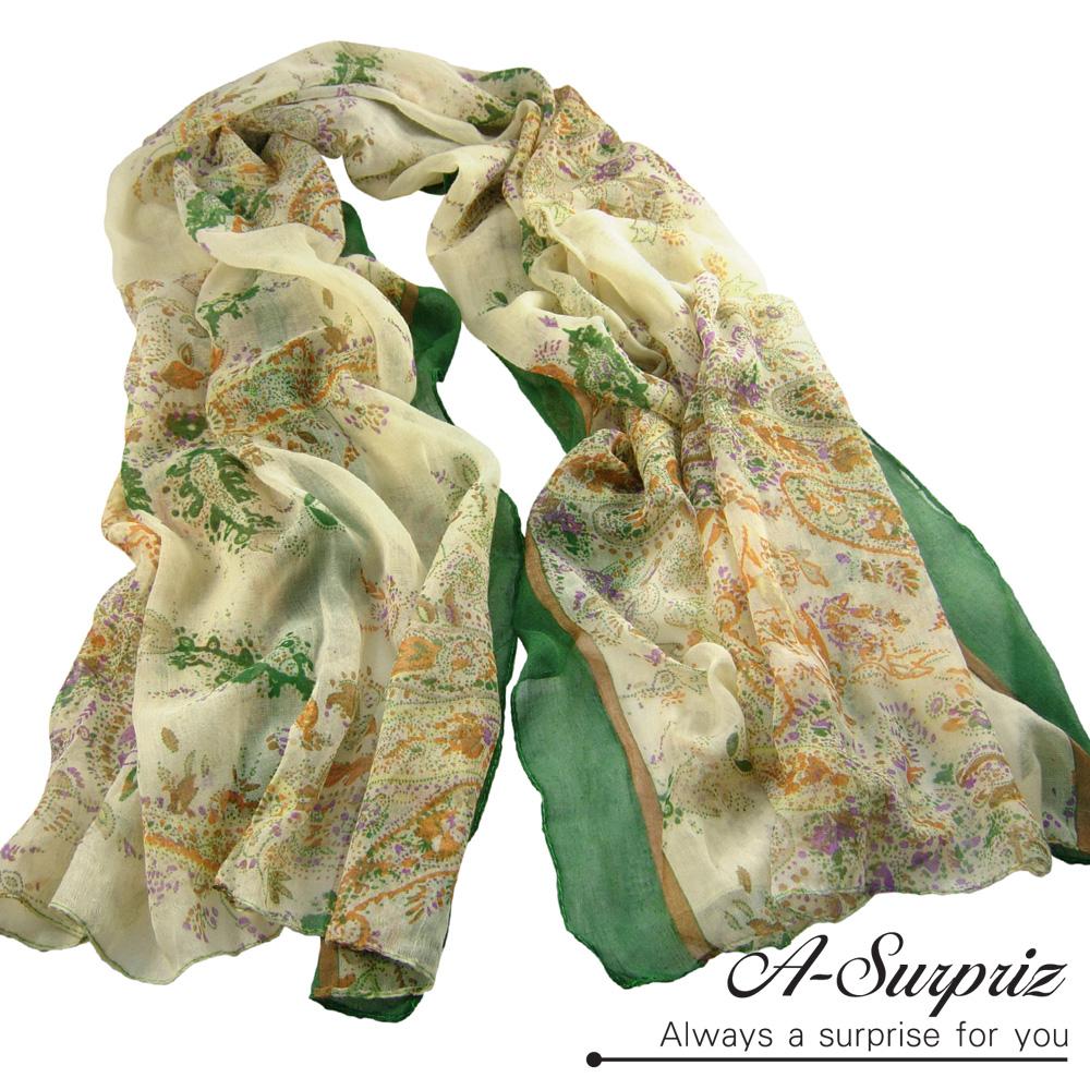 A-Surpriz 中國風藝術圖畫巴黎紗圍巾(清新綠)