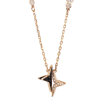 SWAROVSKI 施華洛世奇 雙色水晶北極星造型玫瑰金項鍊