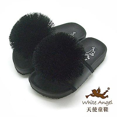 天使童鞋 好新晴蒲公英親子拖鞋(中童)J898-黑