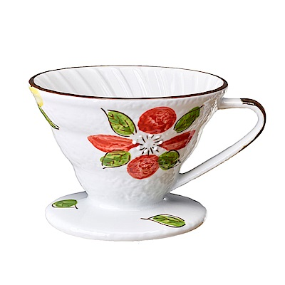 Tiamo V02日式手繪陶瓷咖啡濾器-山茶花(HG5549B)