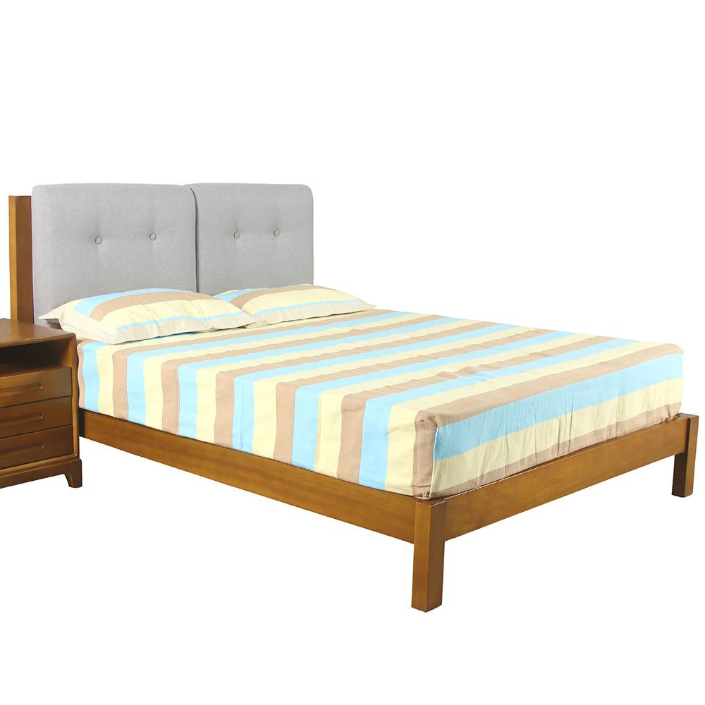 AT HOME-艾迪斯6尺實木柚木色雙人床(184*200*100cm)不含床墊