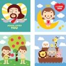 LOVIN 超萌韓版數字油畫 聖經系列(1-2-4-5) 4幅 20X20