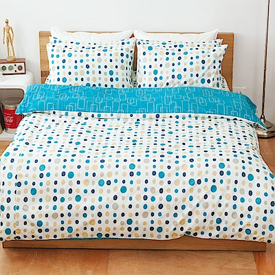 kokomos扣扣馬 鎮瀾宮大甲媽 精梳棉205織紗雙人床包被套四件組 藍莓汽水