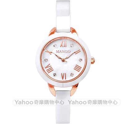 MANGO 優雅晶鑽時尚陶瓷手錶-珍珠貝x玫瑰金/25mm