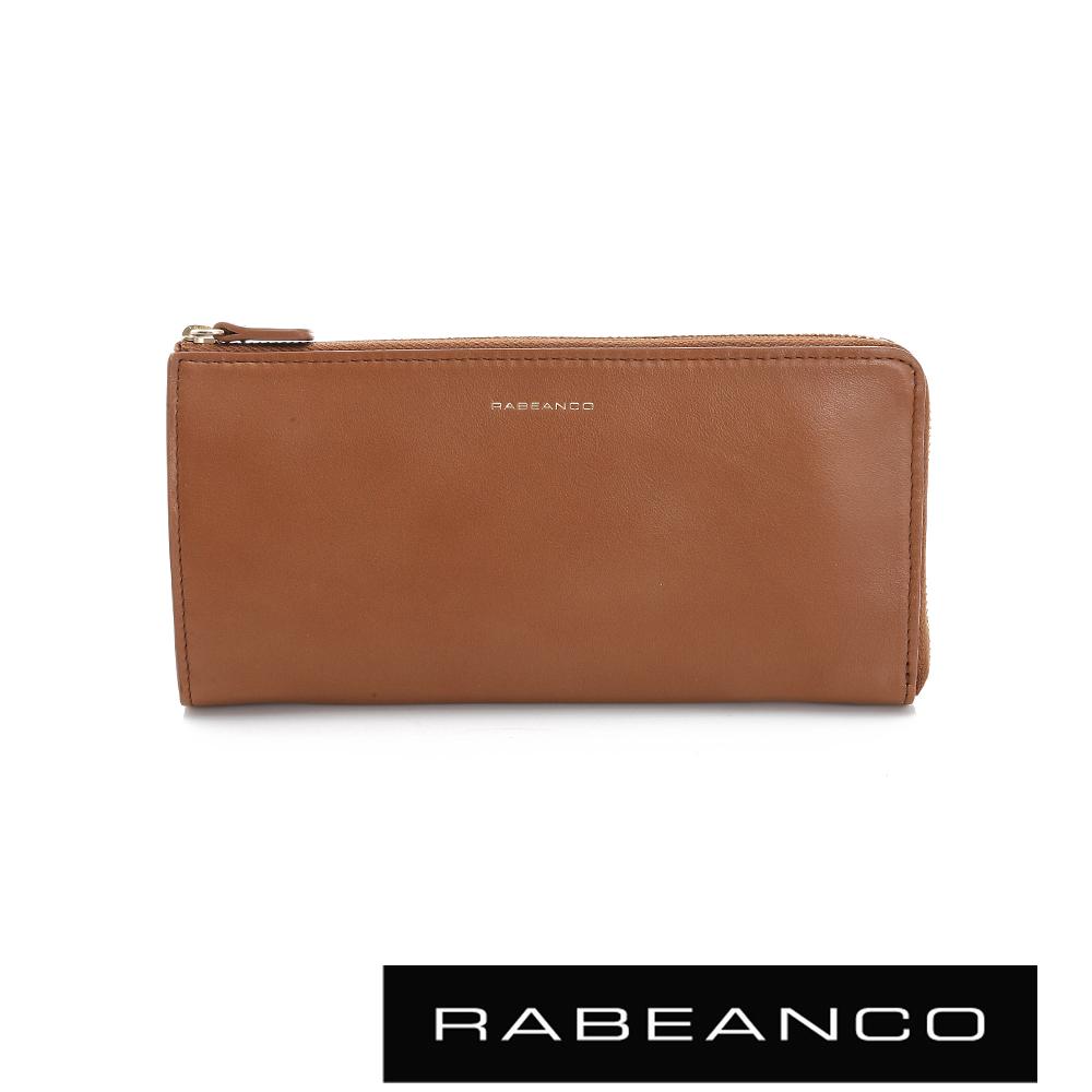 RABEANCO 迷時尚系列撞色多格層拉鍊長夾 - 駝