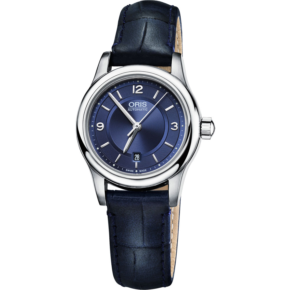 Oris Classic 經典三針都會機械女錶-藍/28.5mm