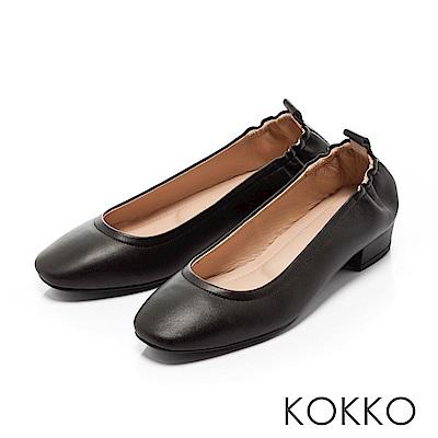 KOKKO - 輕甜好感真皮方頭素面粗跟鞋-優雅黑