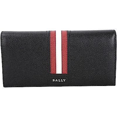BALLY TALIRO 防刮牛皮條紋飾對折長夾(黑色)