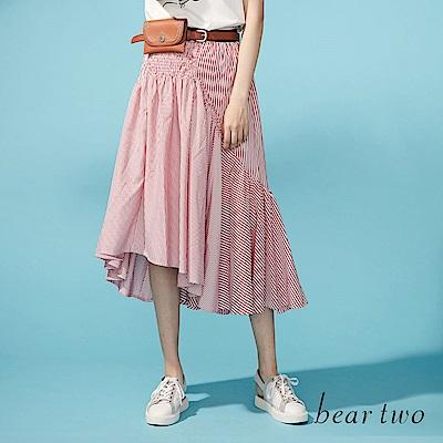 beartwo 彈性垂墜感斜擺條紋長裙(二色)