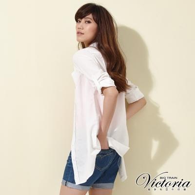 Victoria 休閒長版長袖襯衫-女-白