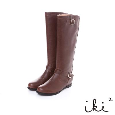iki2風中奇緣-經典舒適雙扣環高筒靴-淺咖