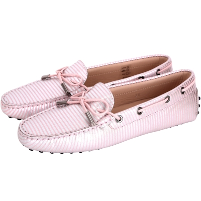 TOD'S Gommino Driving 條紋印花綁帶豆豆休閒鞋(粉色)