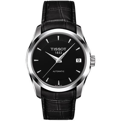 TISSOT Couturier Lady 時尚簡約機械皮帶腕錶-黑/32mm